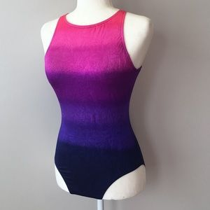 {Jantzen} vintage swimsuit ombré back cutout 8